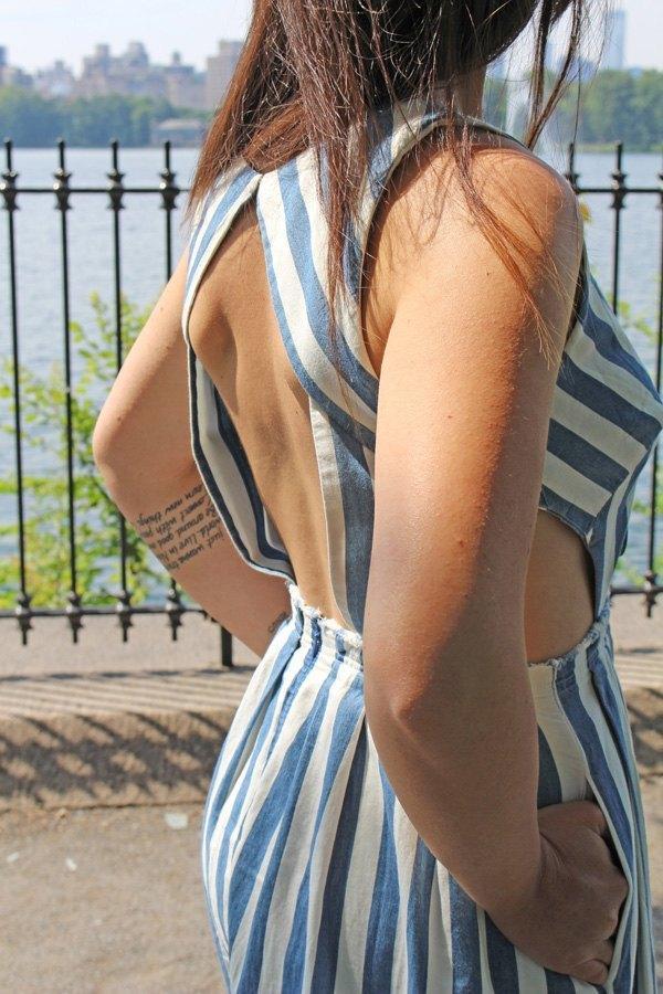 marikowskaya street style carmen vestido rayas (2)