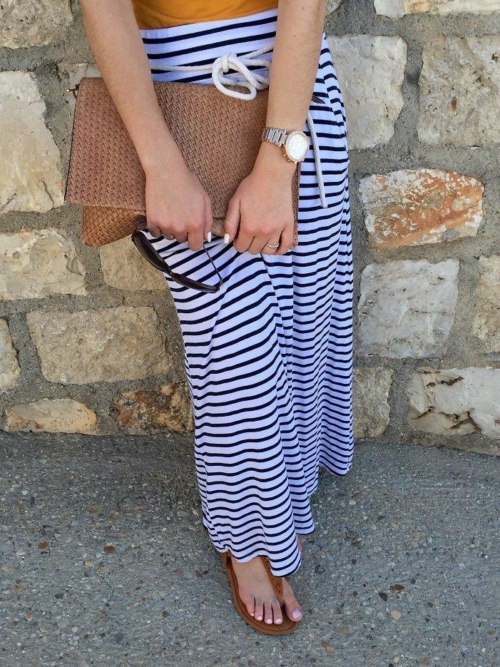 marikowskaya street style jennifer falda larga rayas (3)