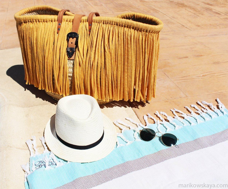 capazo verano - toalla sombrero