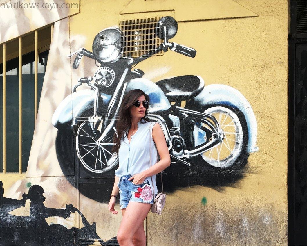 marikowskaya street style denim shorts