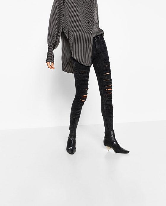 Pantalón gris roto Zara