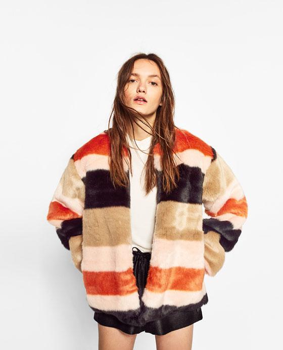 Abrigo pelo de colores Zara