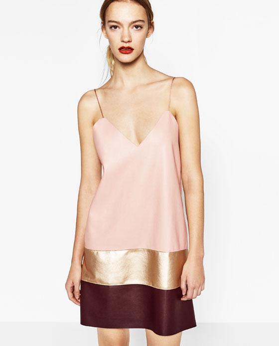 Vestido polipiel Zara