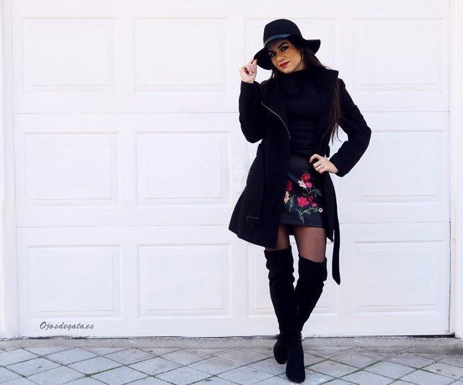 marikowskaya street style fátima falda negra bordada (4)