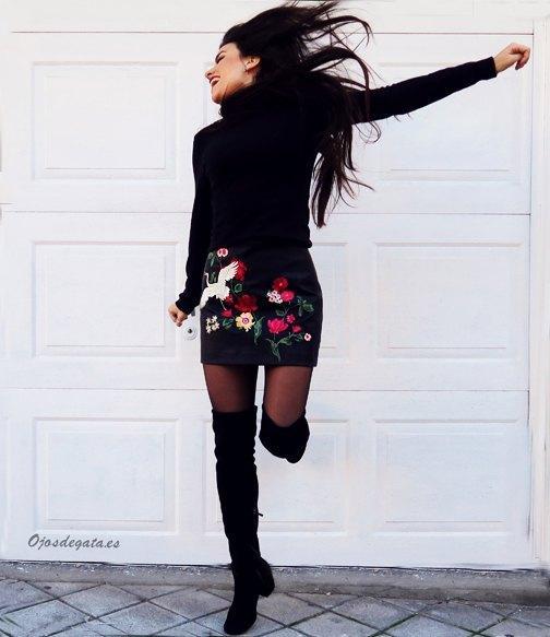 marikowskaya street style fátima falda negra bordada (6)