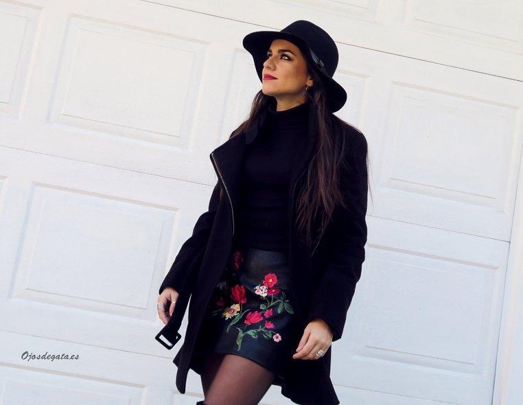 marikowskaya street style fátima falda negra bordada (7)