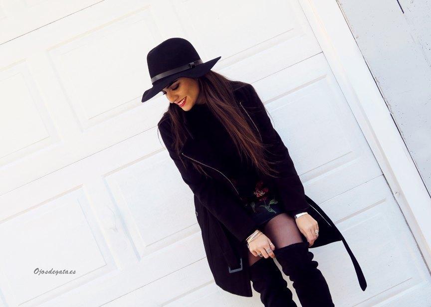 marikowskaya street style fátima falda negra bordada (8)